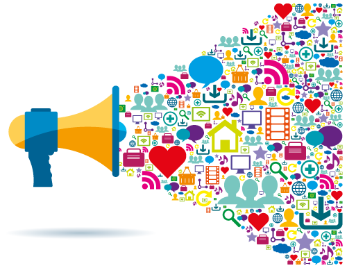 A blue and yellow megaphone on the left shows an explosion of social media, marketing and promotional icons and logos shooting outward towards the right and out of the image.